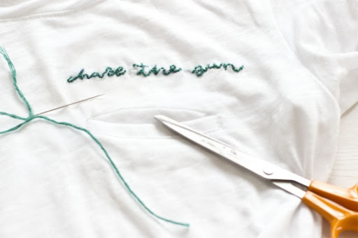 embroidering shirts